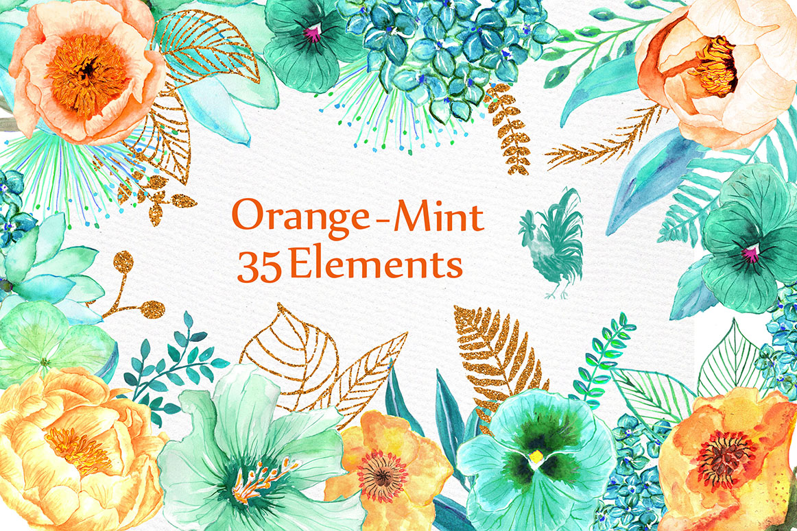 Orange Mint flowers clip art example image 1