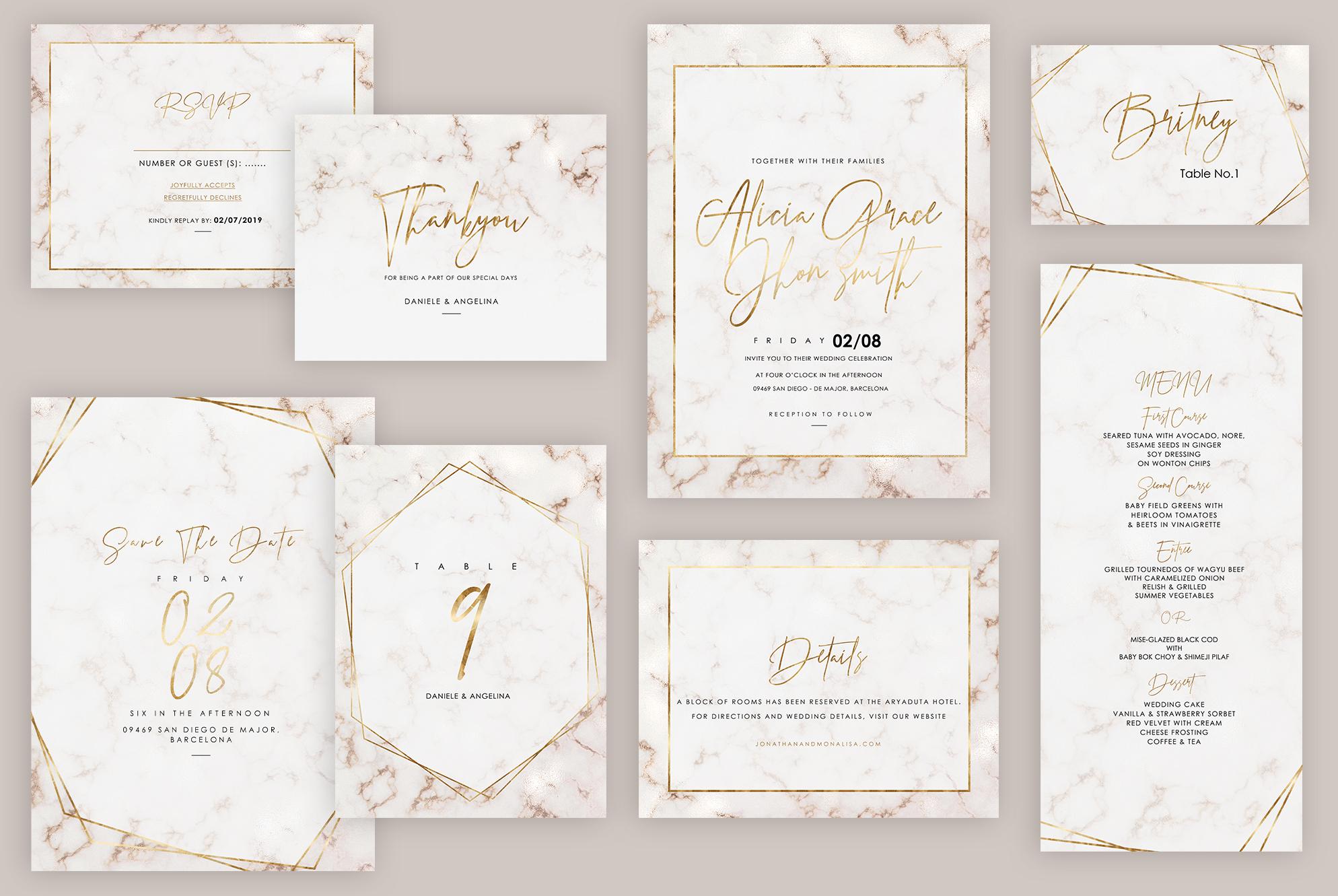 Marble Wedding Invitation example image 1