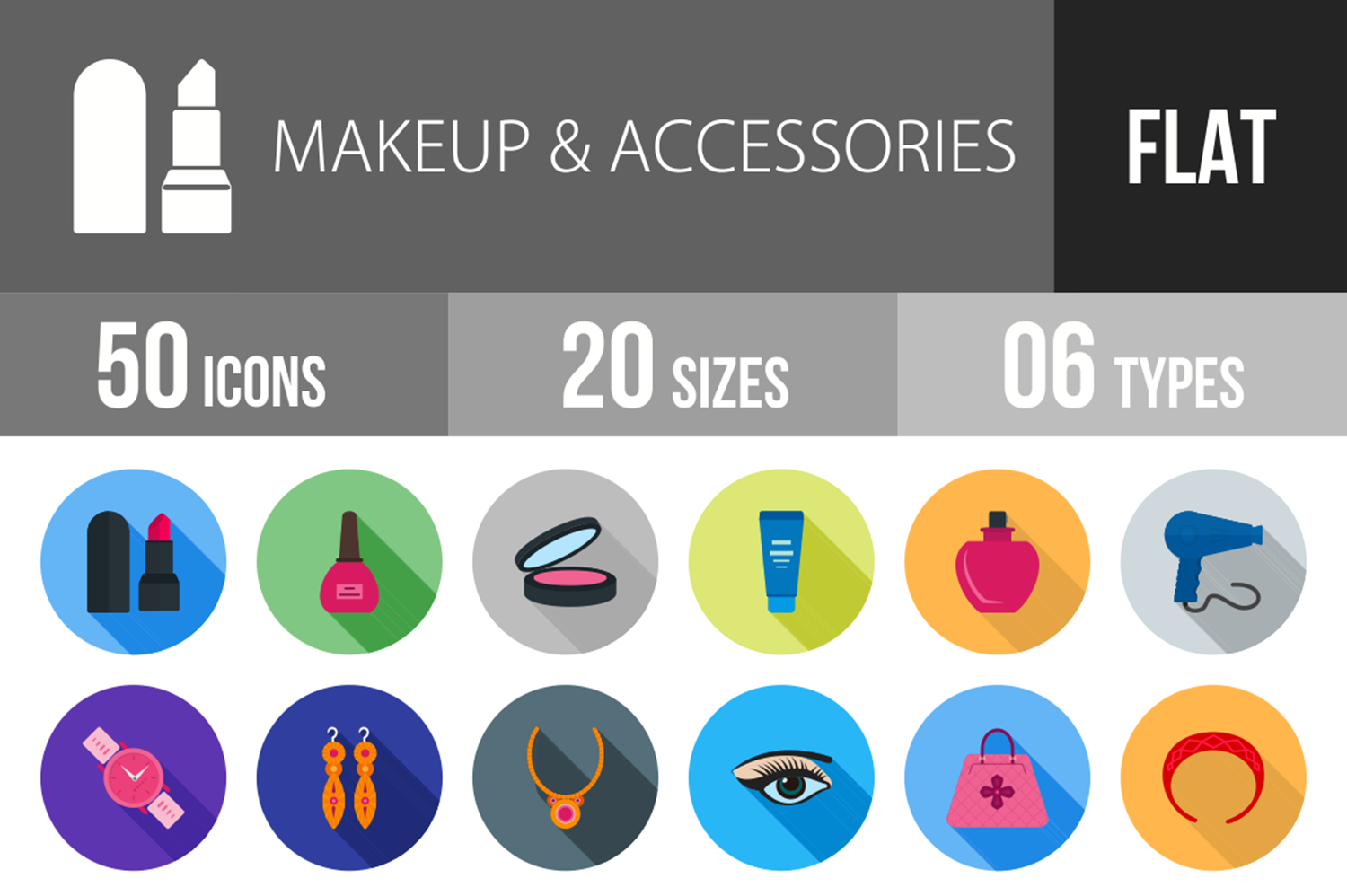 50 Makeup & Accessories Flat Long Shadow Icons example image 1