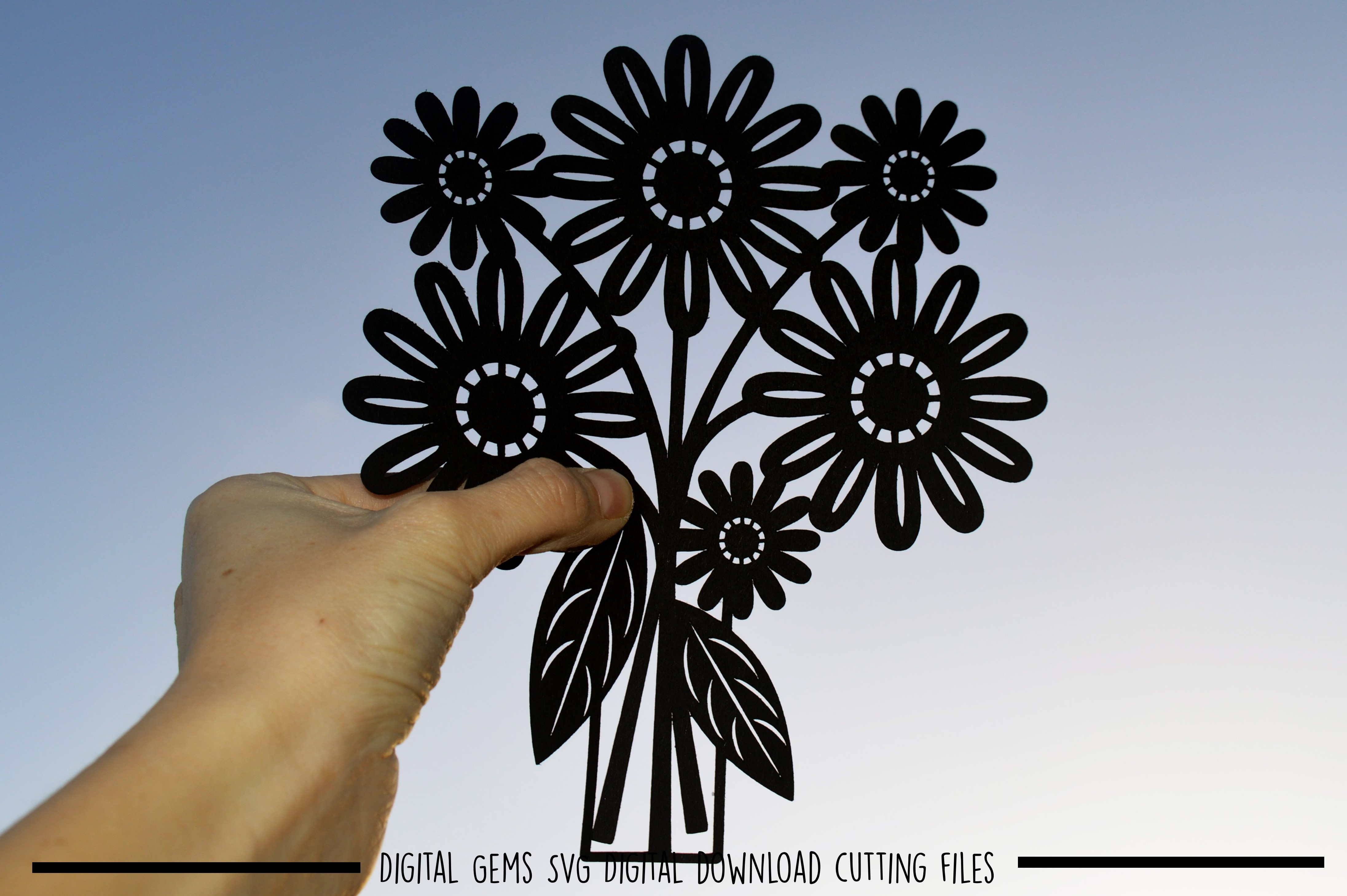 Flower paper cut SVG  DXF  EPS files example image 1