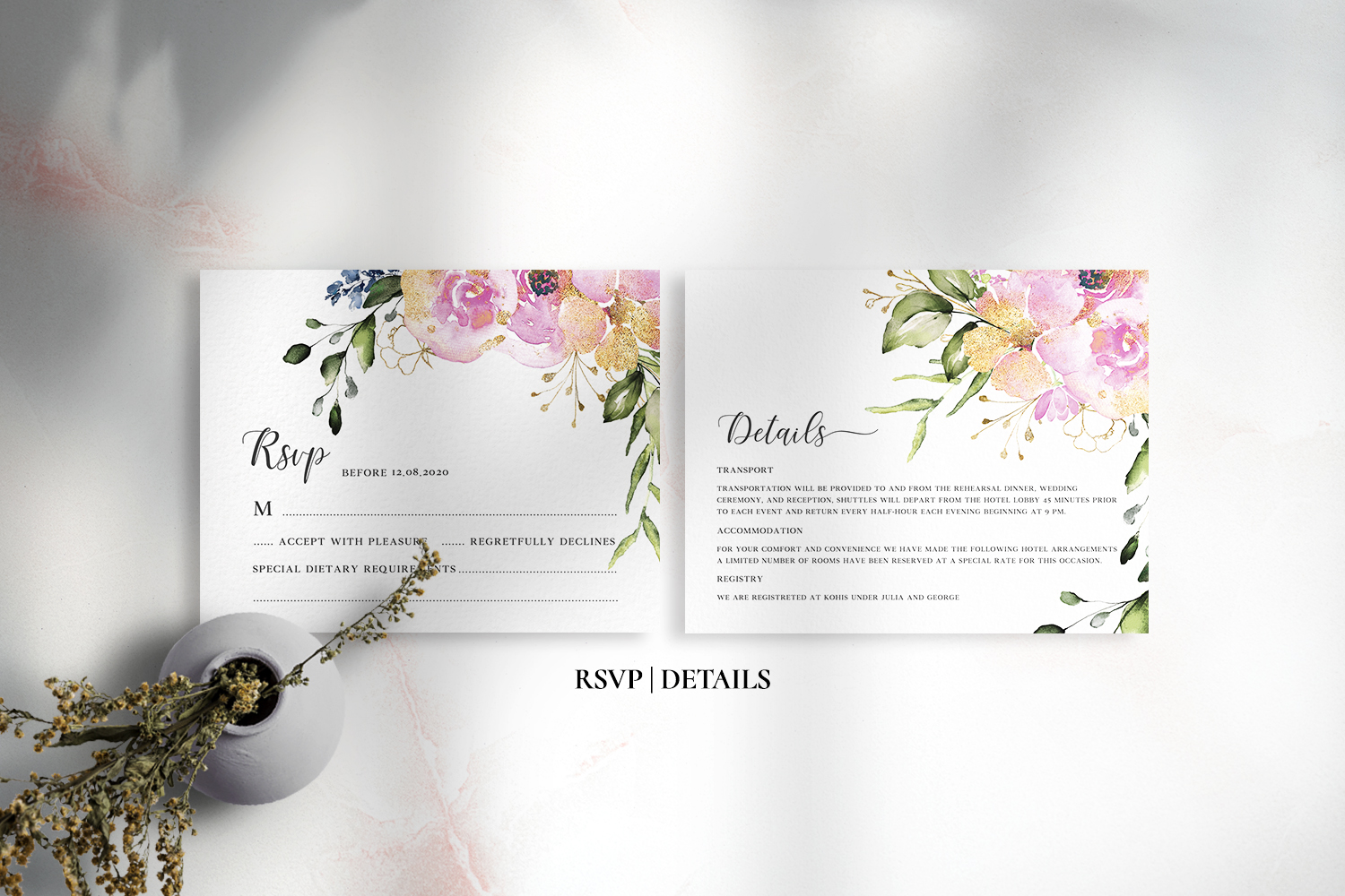 Rose & Gold Floral Wedding Suite example image 3