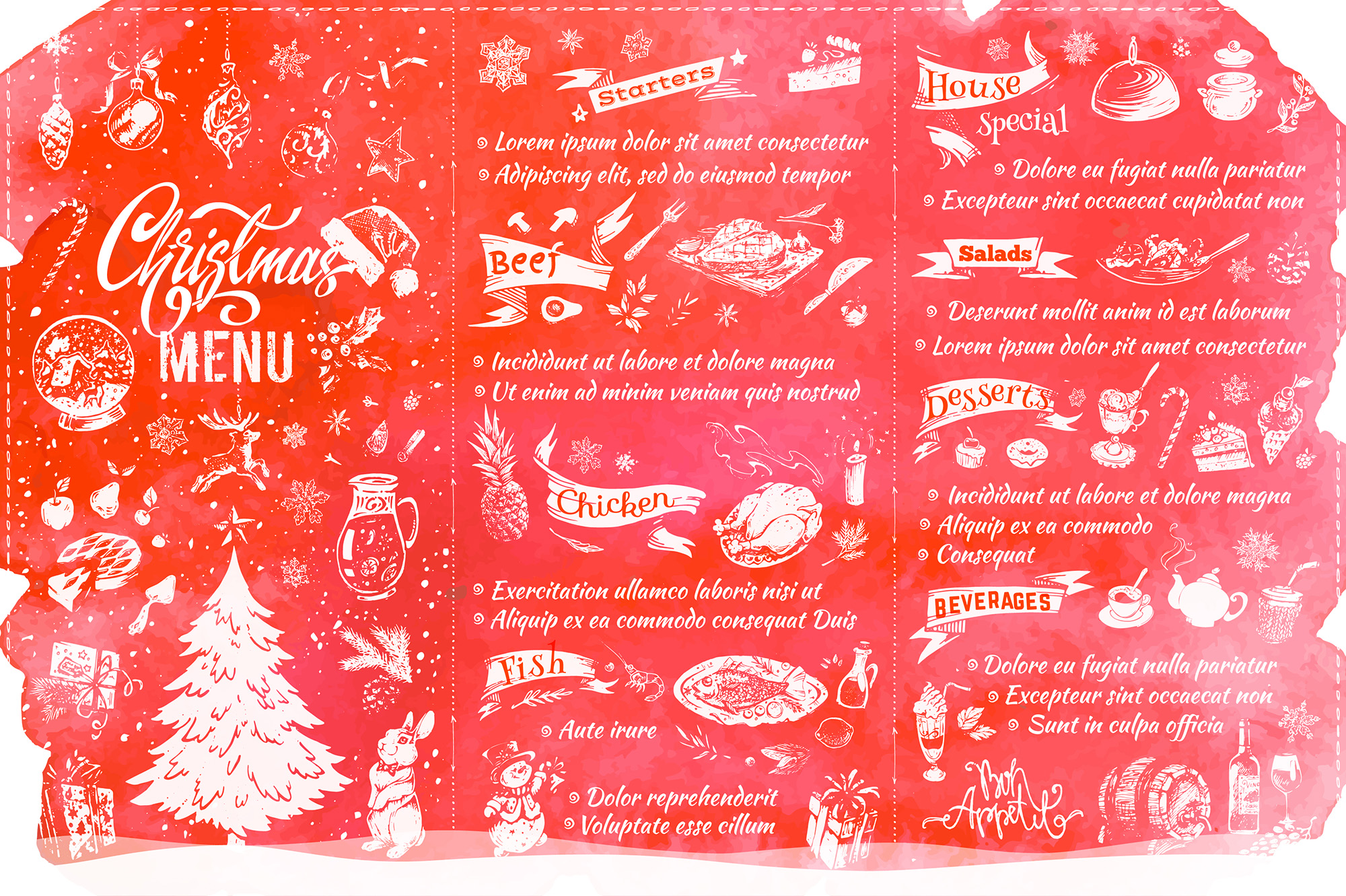 Christmas Menu Design. Hand Drawn Illustrations example image 5