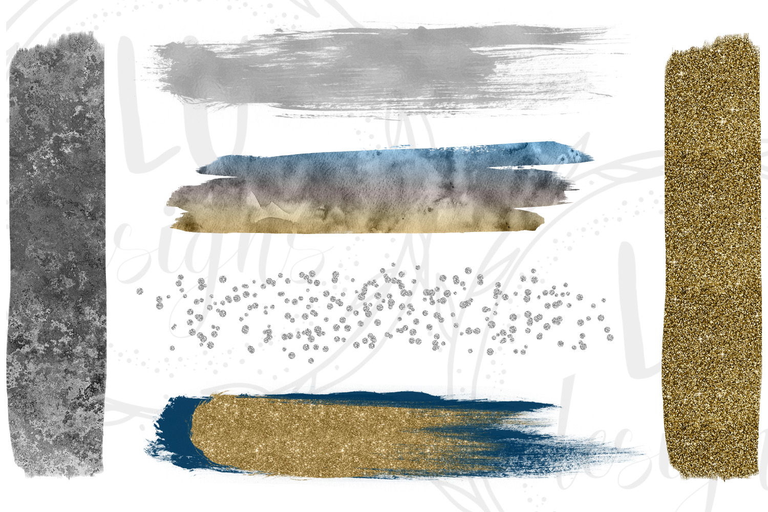 Gold, Silver, and Navy Blue Brush Strokes example image 2