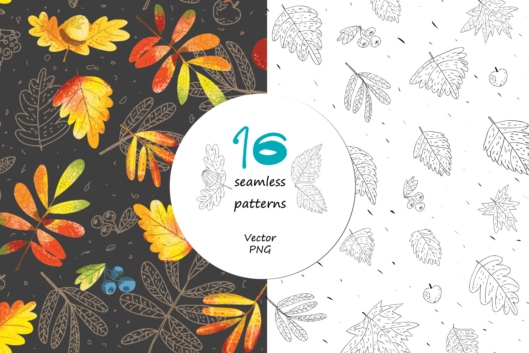 Autumn Leaves - over 30 objects, frames, patterns example image 8