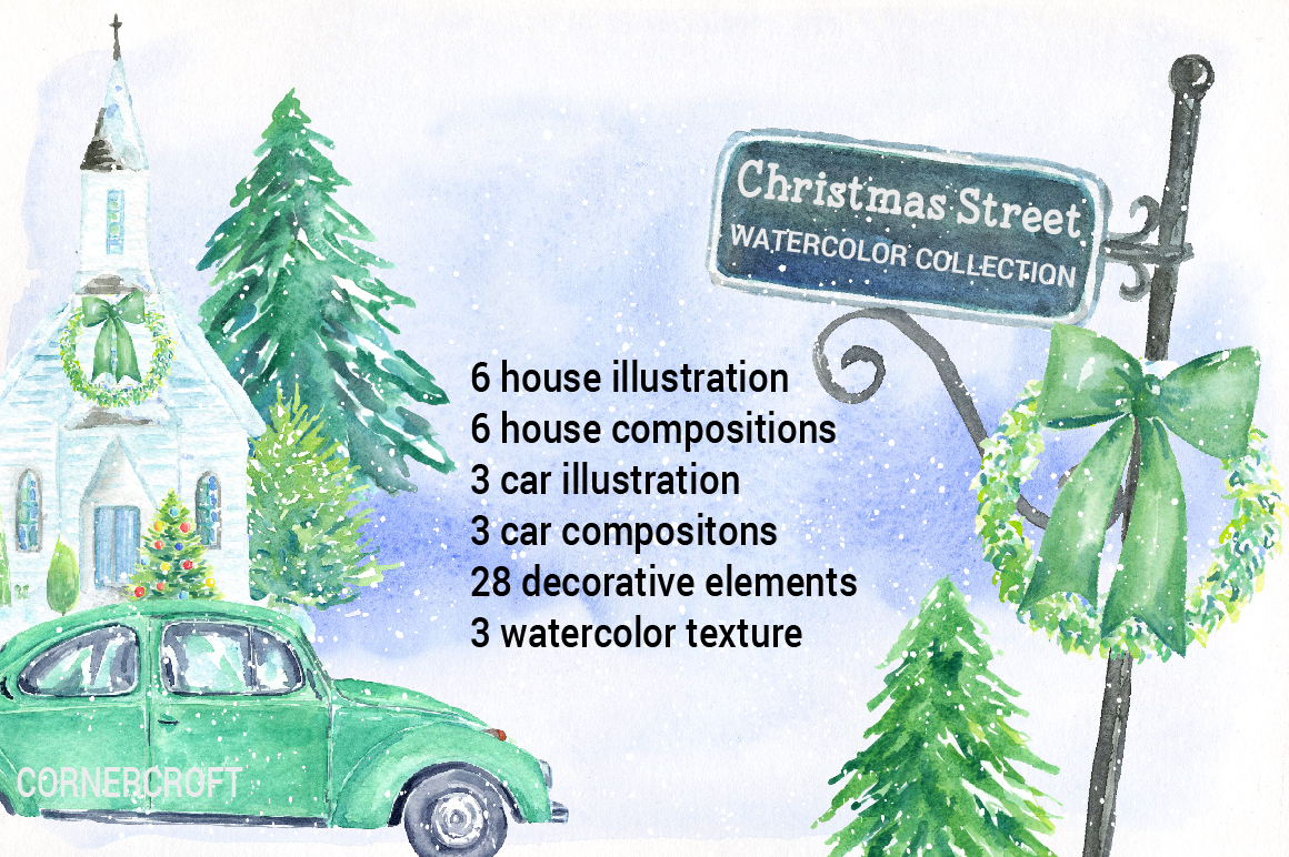 Watercolor Christmas Street  example image 2