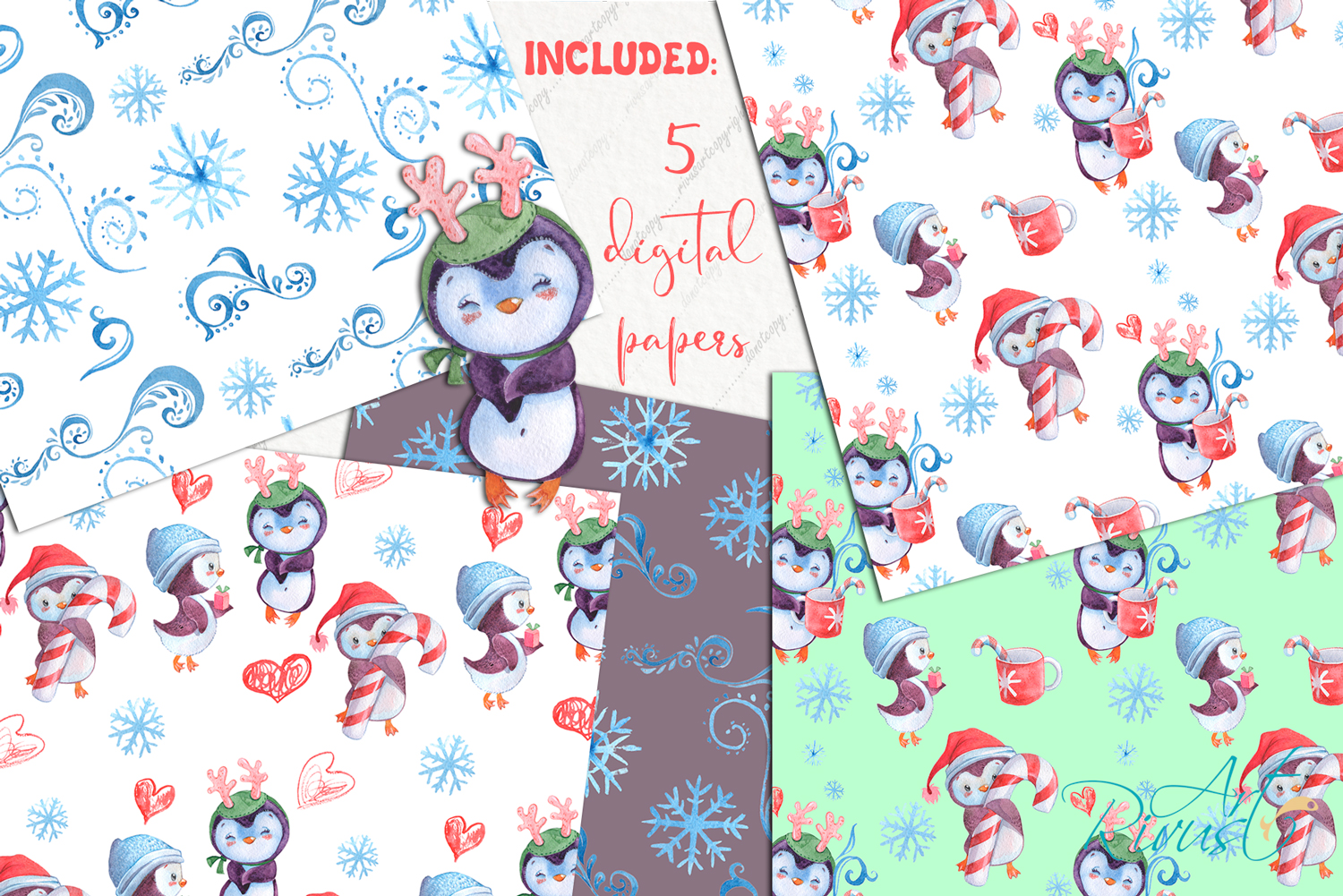 Christmas Penguins watercolor CLIPARTS, DIGITAL PAPERS example image 4