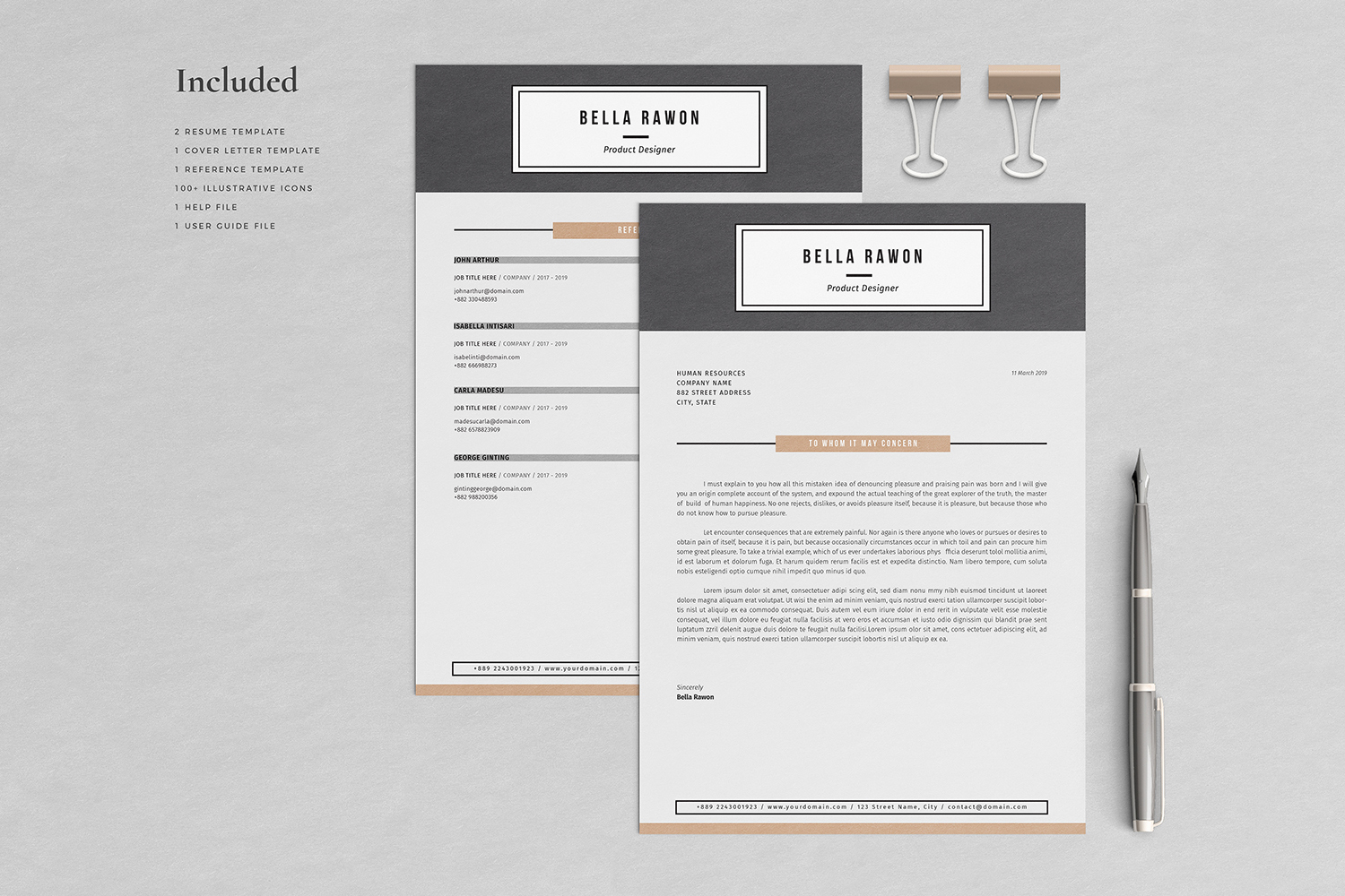 Bella Resume with Cover Letter Professional Template example image 3
