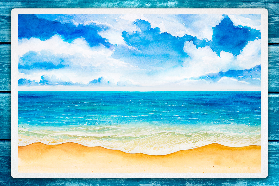 Seascapes. Watercolor illustrations. example image 2