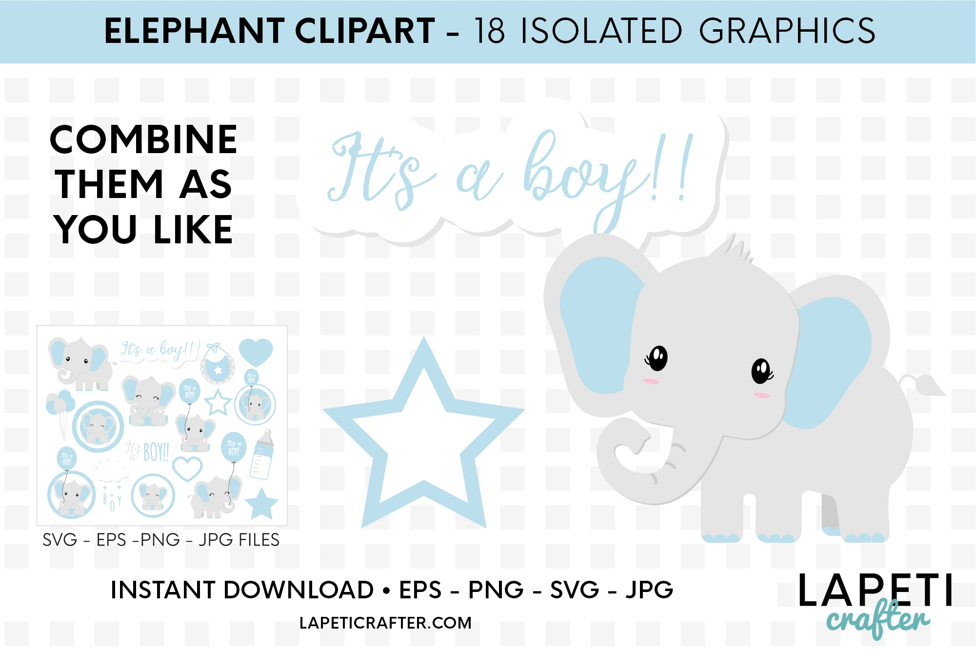 Its a boy Elephant clipart, gender reveal, baby shower svg example image 5