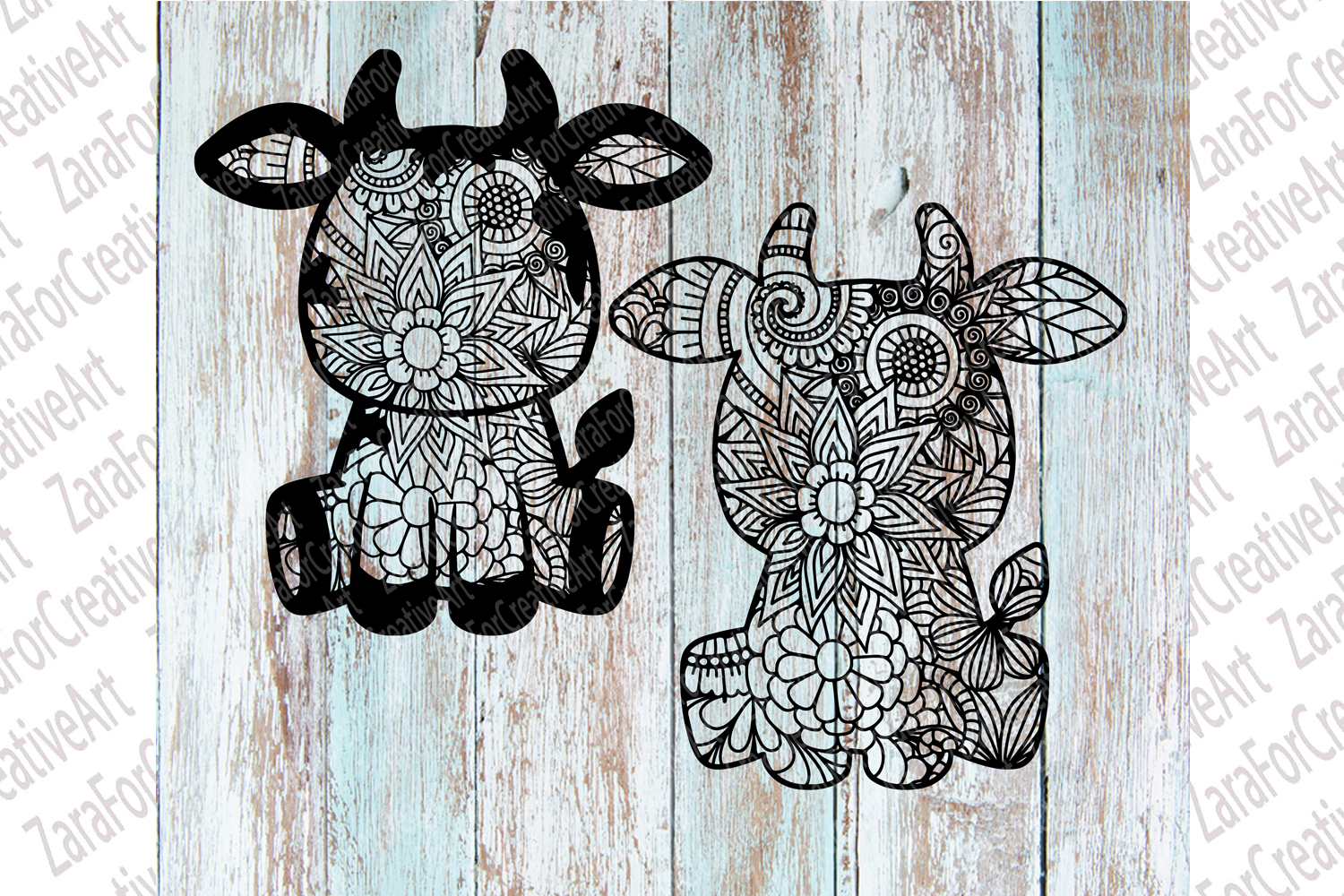cute cow Zentangle svg example image 3