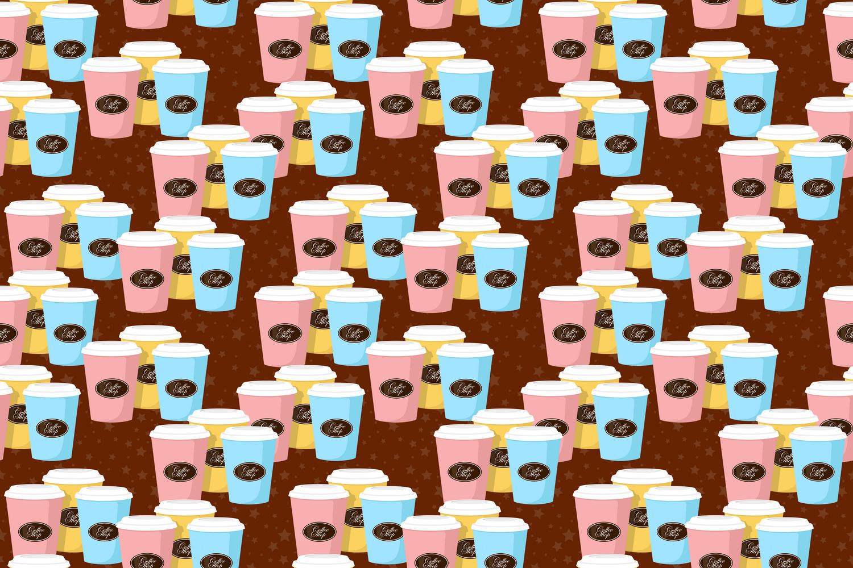 Coffee theme seamless patterns. example image 2