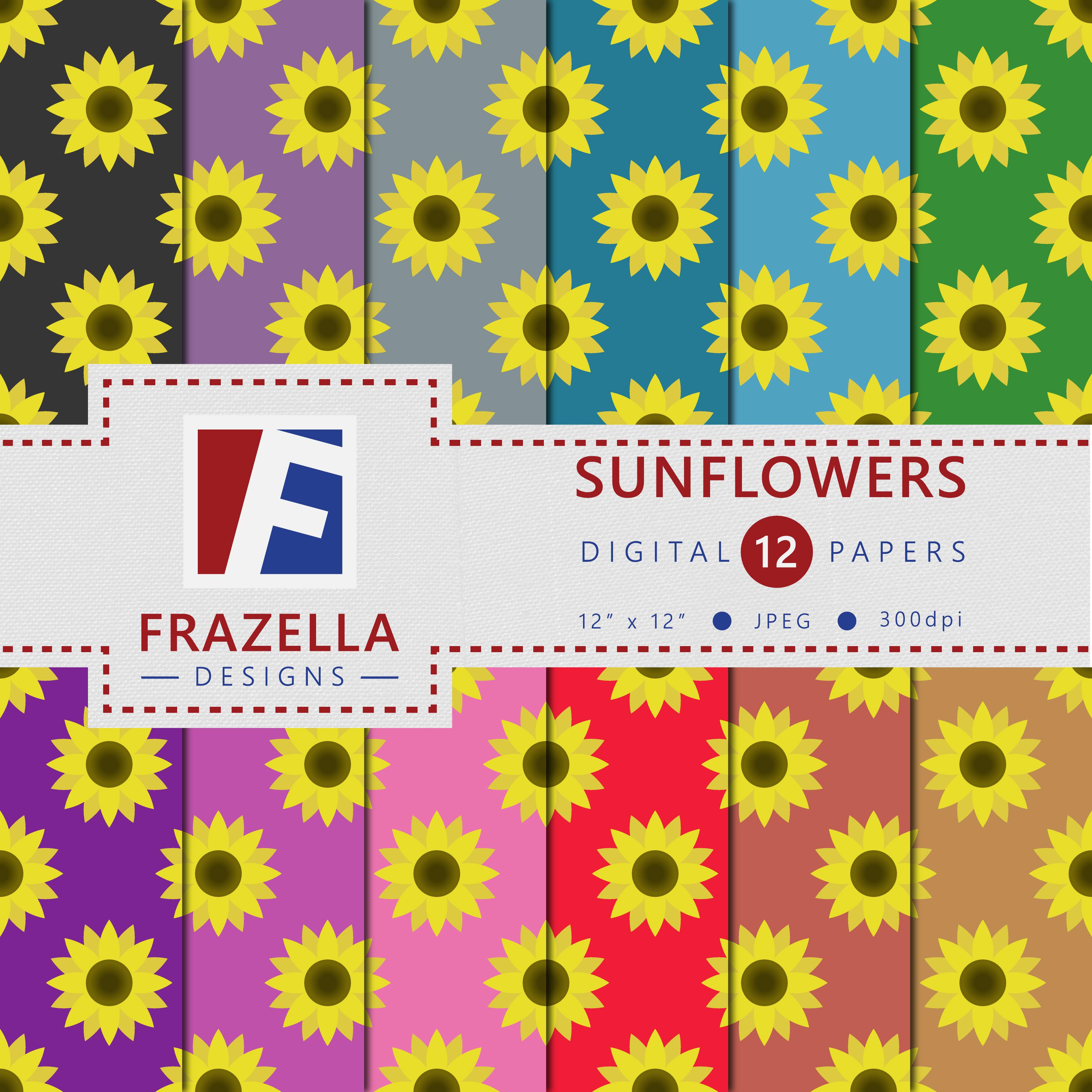 Blooming Sunflowers Digital Paper example image 1