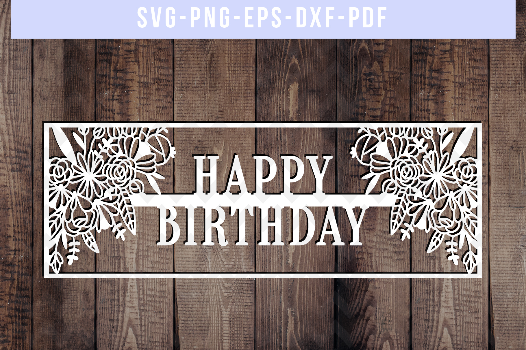 Happy Birthday Papercut Template, Birthday Frame SVG PDF DXF example image 1