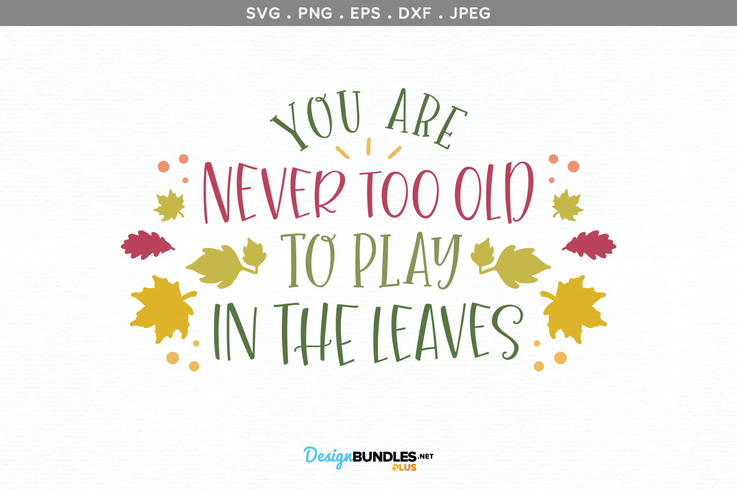 You Are Never Too Old to Play in the Leaves - svg, printable example image 2