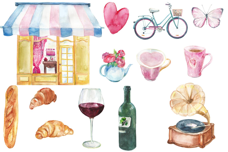 Watercolor Parisian cafe clip art example image 2