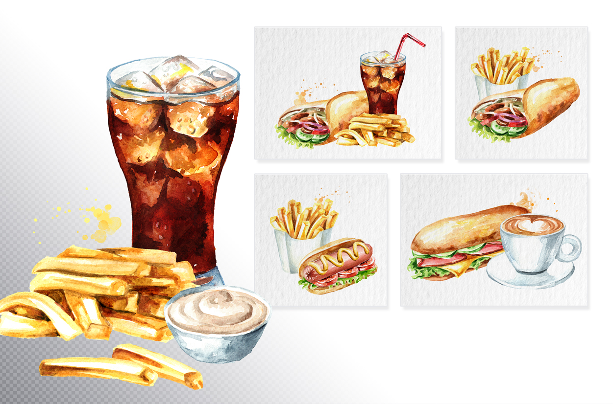Fast food watercolor collection example image 3