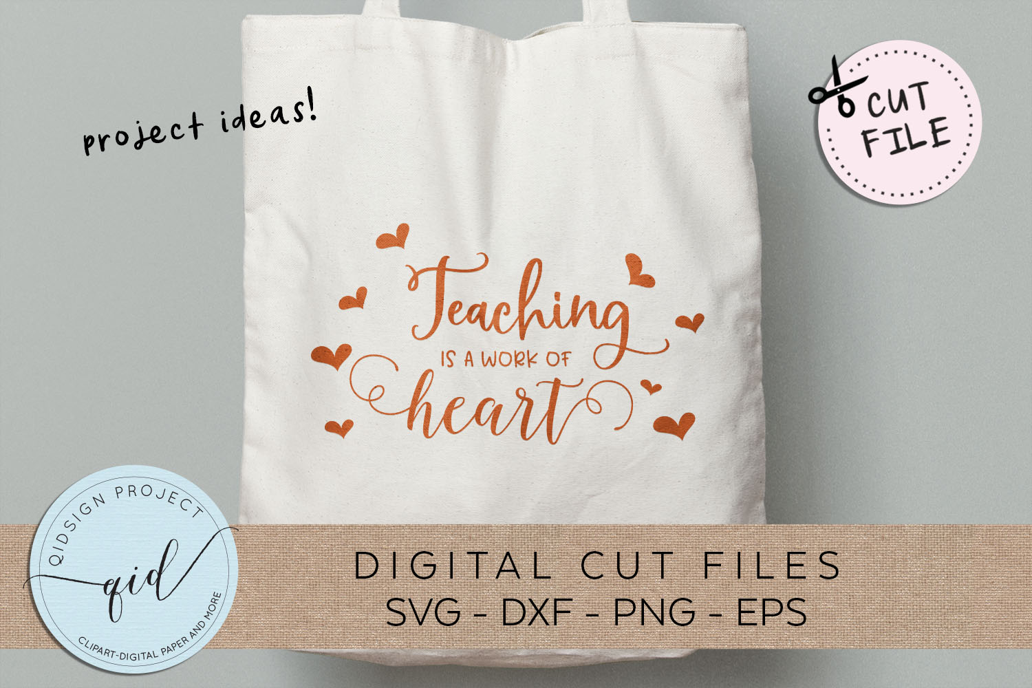 Teaching is a work of heart SVG DXF PNG EPS example image 1