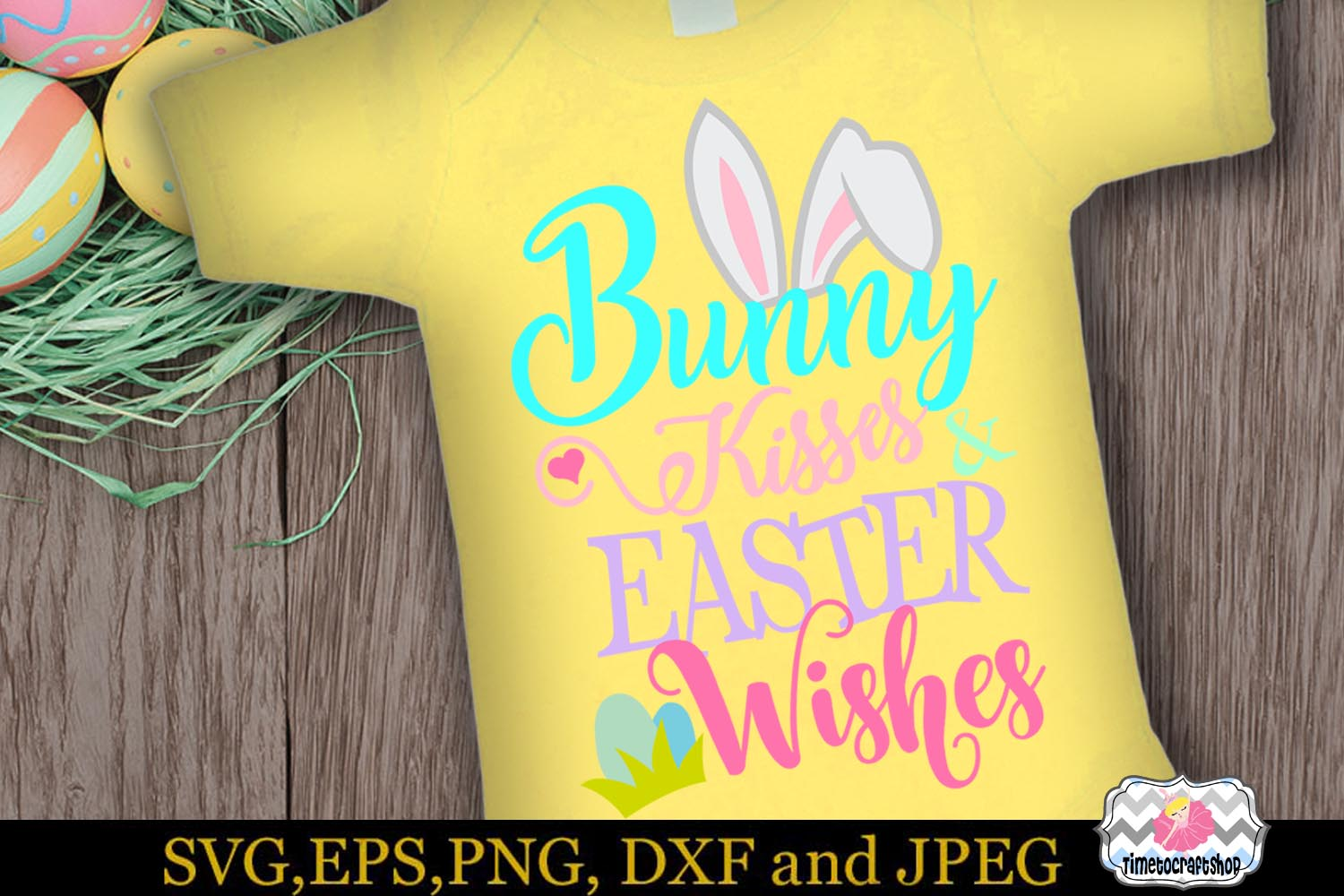 SVG, Eps, Dxf & Png Bunny Kisses and Easter Wishes example image 1