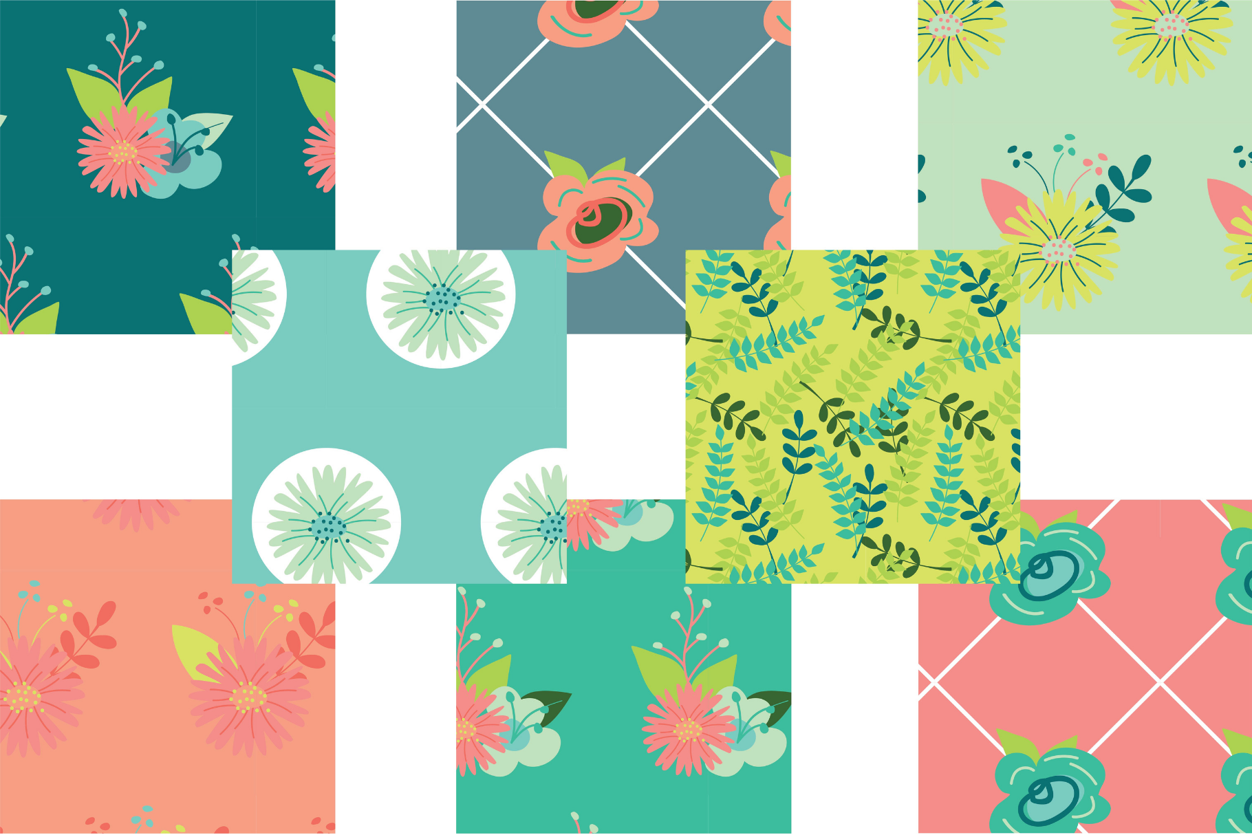 Coral and Mint Floral Digital Paper example image 2