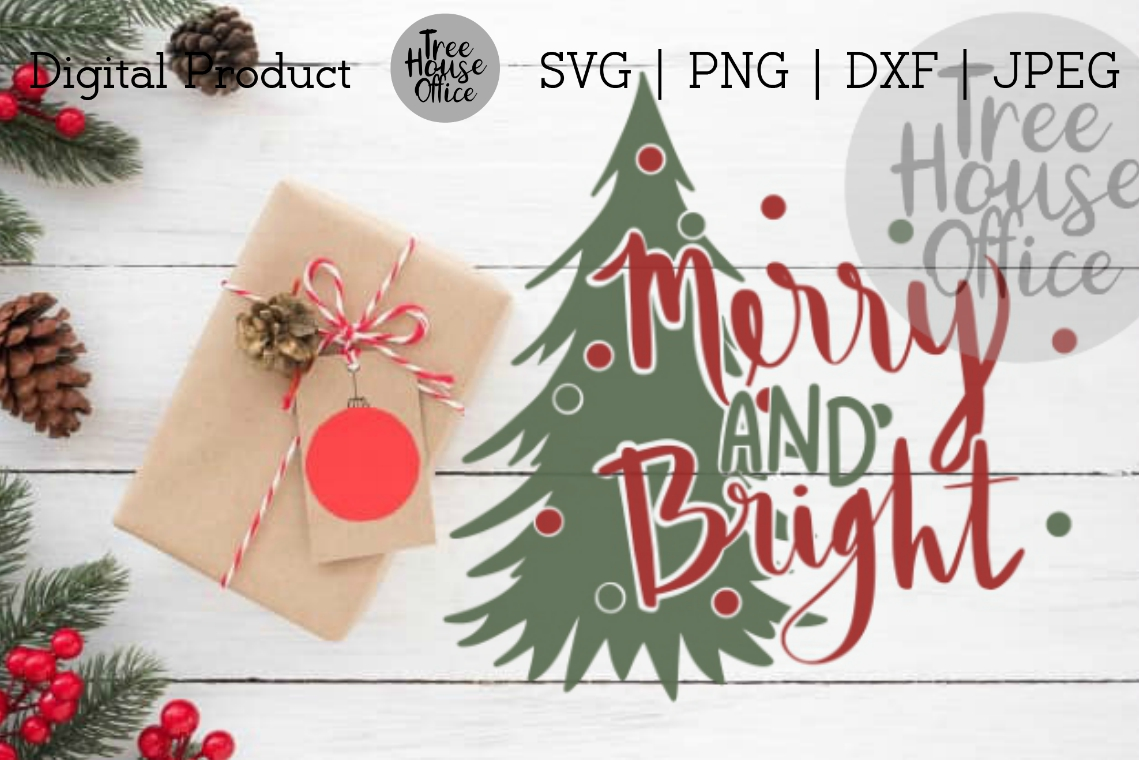 Merry & Bright Christmas Quote SVG PNG DXF Holiday Saying example image 1