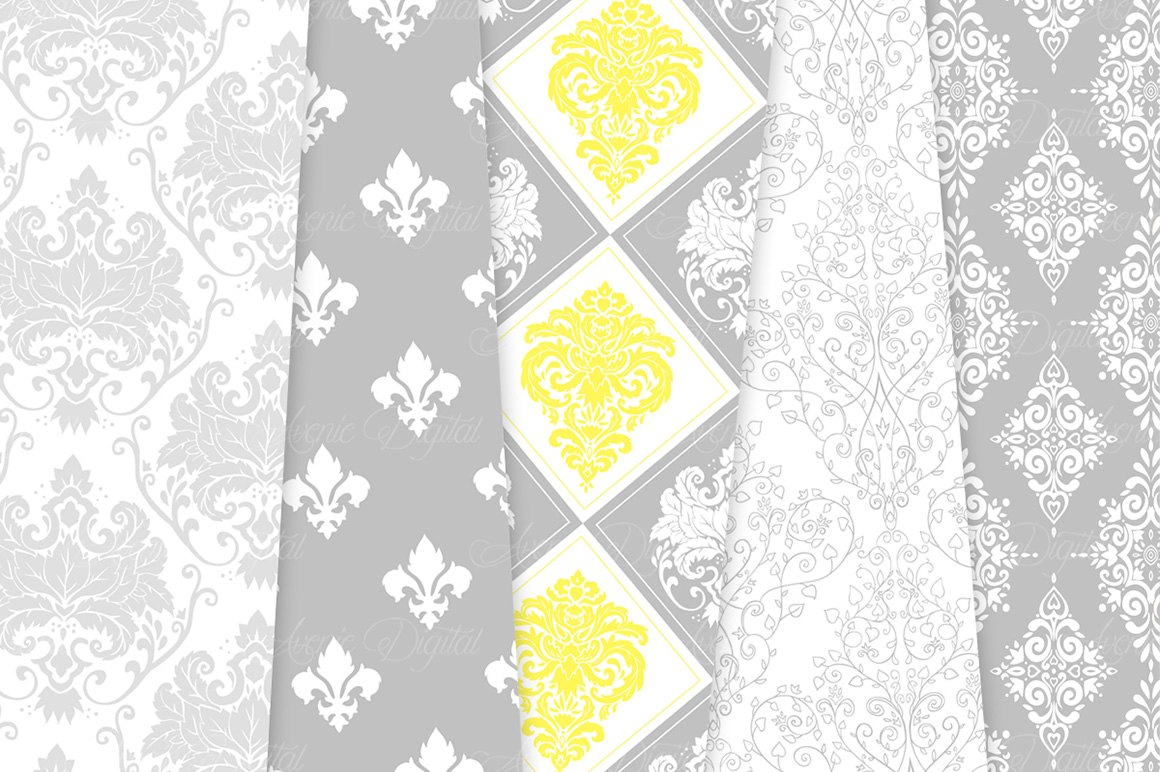 28 Yellow and Gray Damask Patterns - Seamless Digital Papers Bundle example image 7
