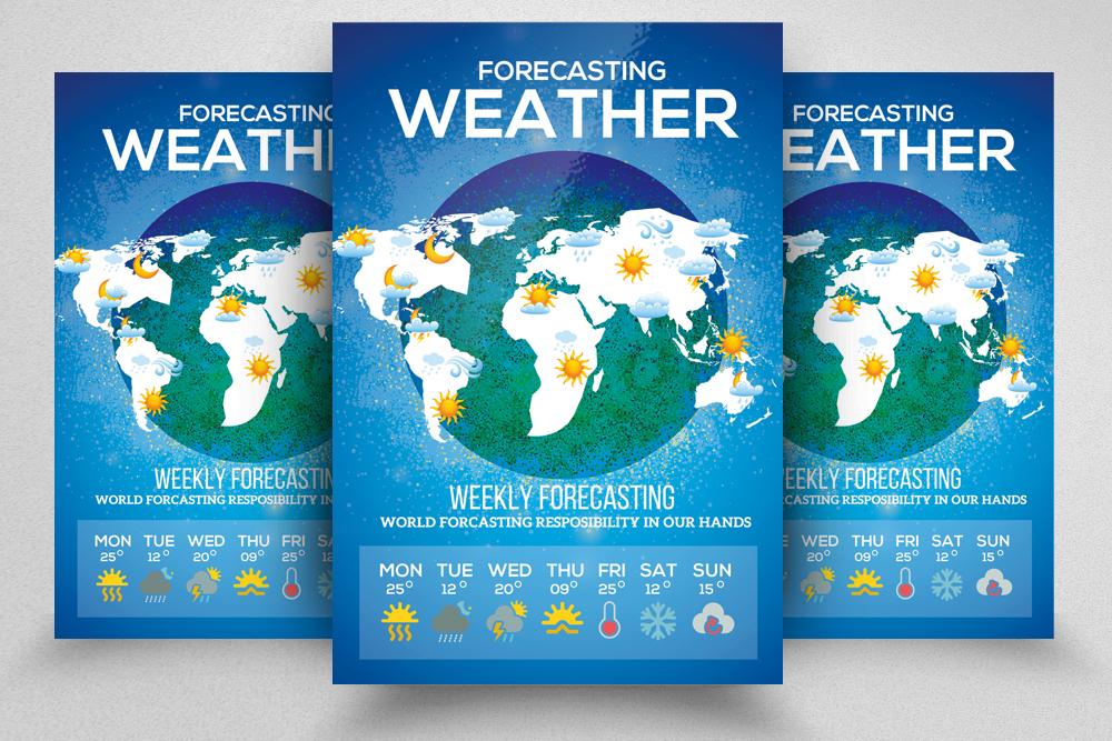 4 Weather Forcasting Flyers Bundle example image 2