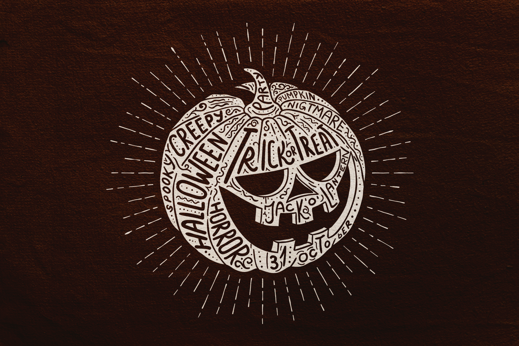 Halloween Pumpkin Engraving Style example image 2