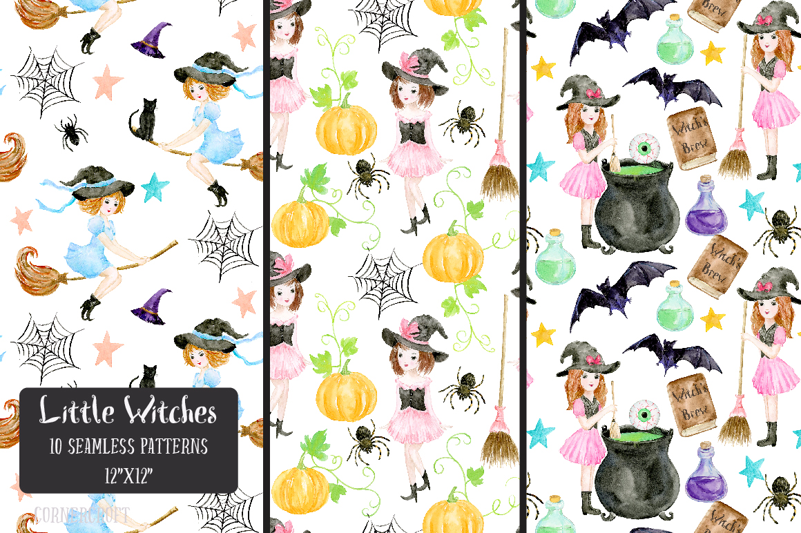 Little Witches Watercolor Design Kit example image 11