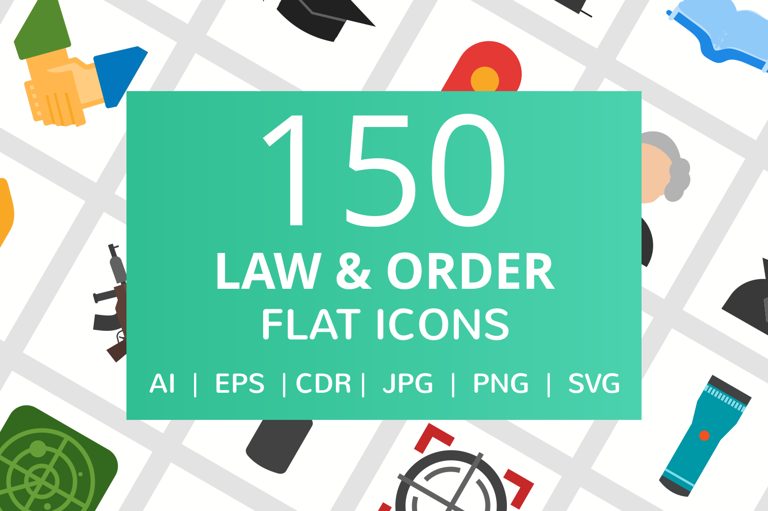 150 Law & Order Flat Icons example image 1