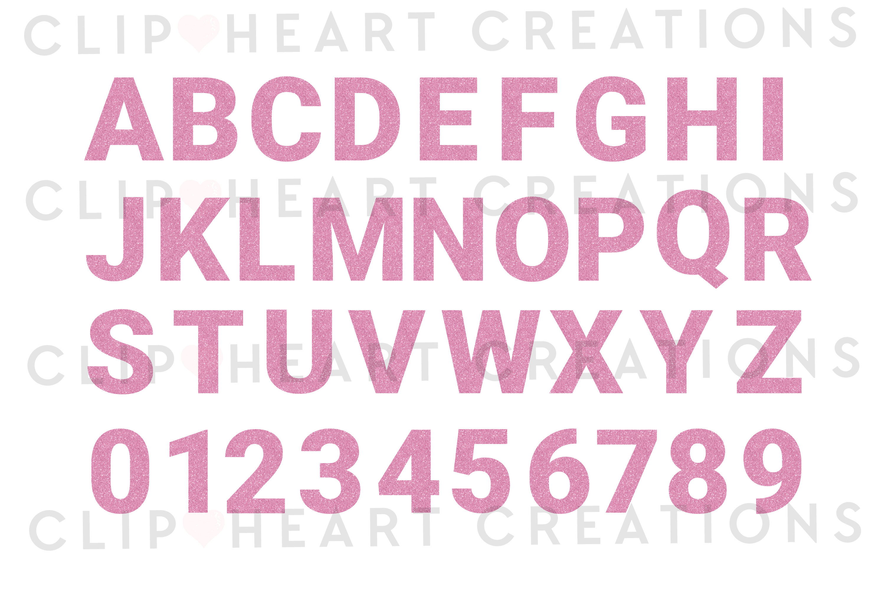 Pink Glitter Alphabet & Numbers with Symbols example image 2
