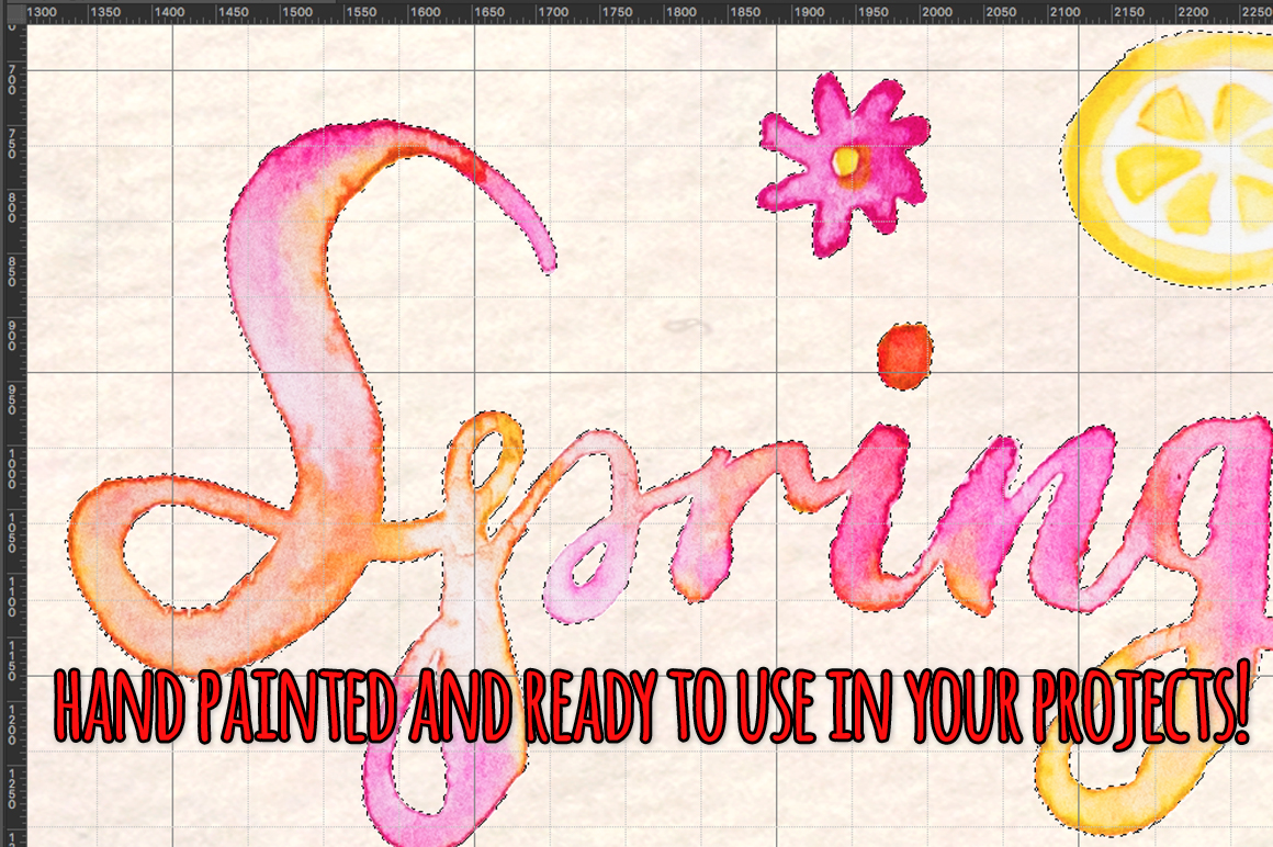 77 Spring Party Pink Lemonade Watercolor Elements example image 3