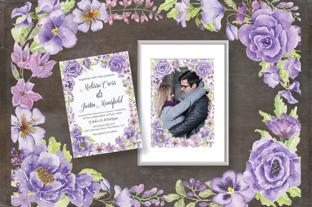 Watercolor clip art bundle: 'Purple Passion' example image 4