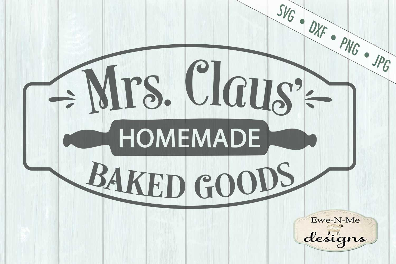 Mrs Claus' Baked Goods - Christmas - Rolling Pin - SVG DXF example image 2