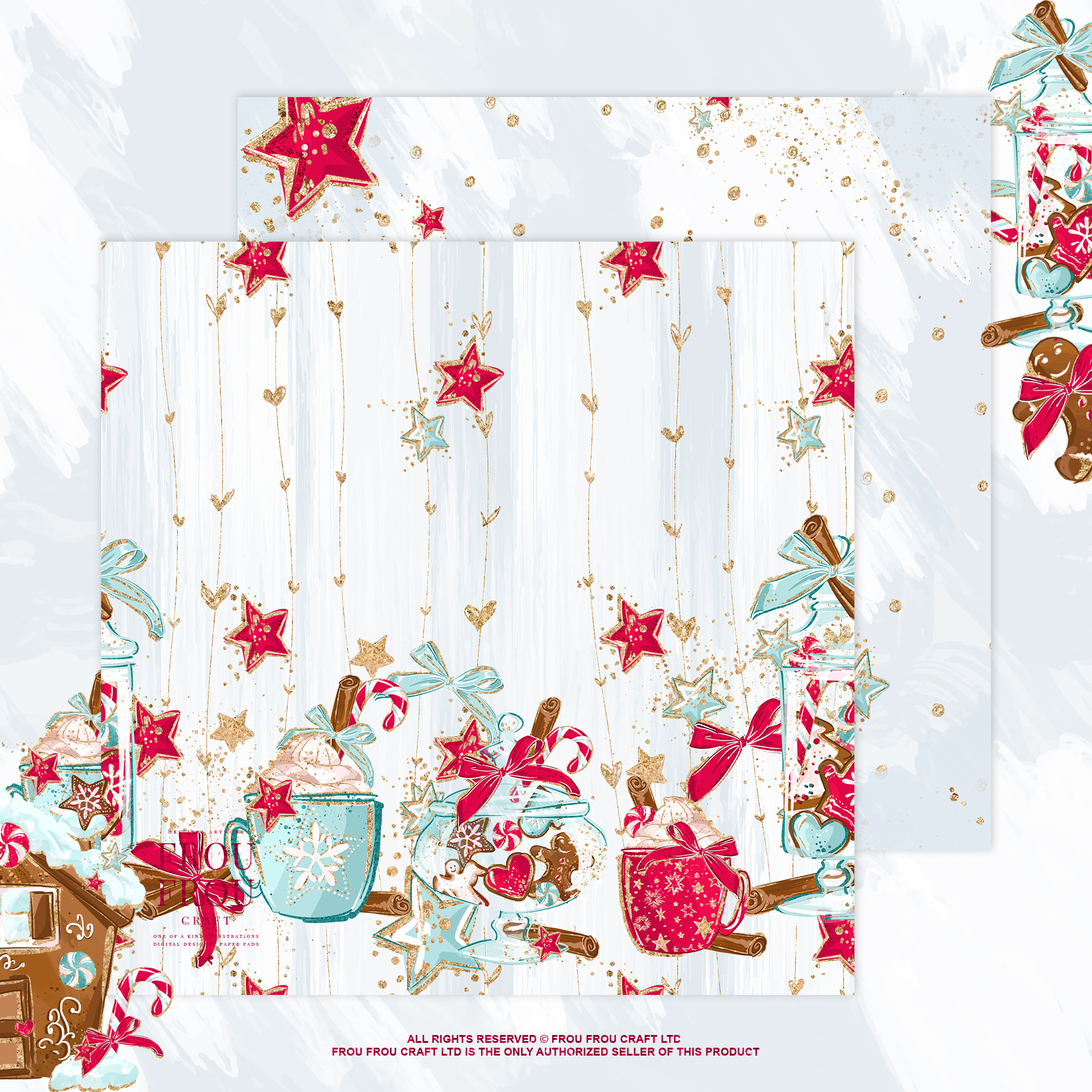 Christmas Winter Ginger Bread Sugar Cane Paper Pack example image 8