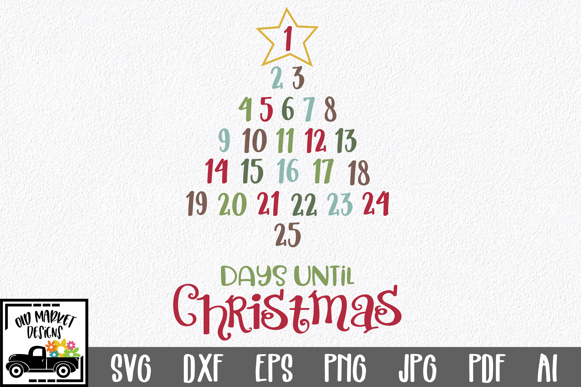 Christmas Countdown SVG Cut File - Christmas Number Tree example image 1