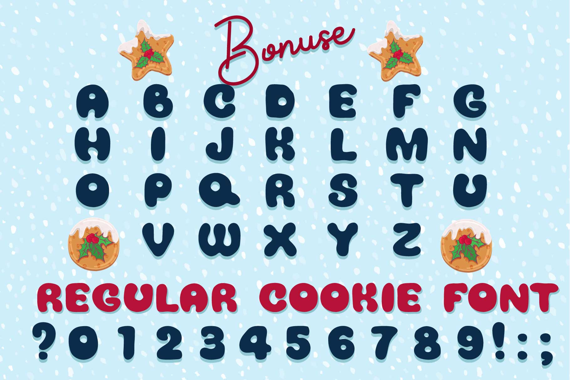 Xmas cartoon cookie font family example image 4