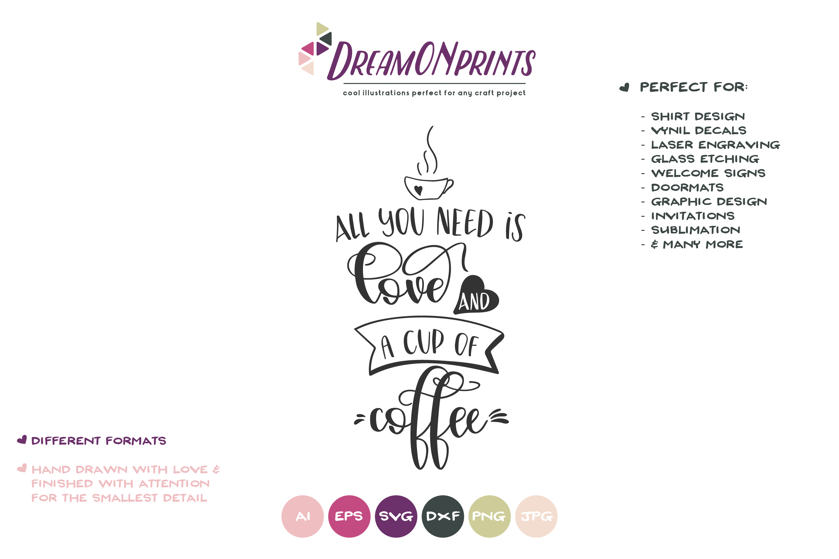 Coffee SVG | All You Need is Love and a Cup of Coffee example image 2