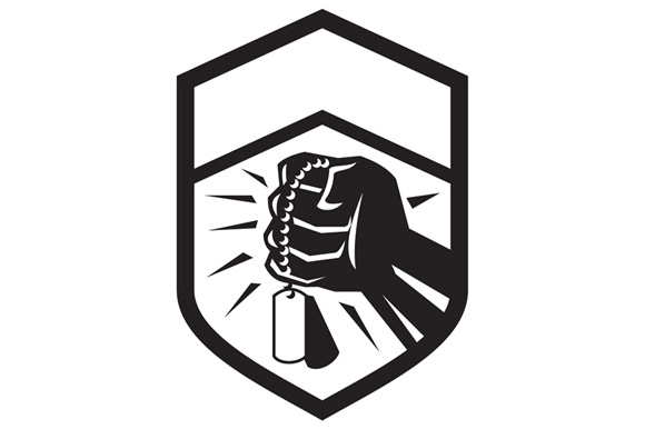 Clenched Fist Holding Dogtag Crest Retro example image 1