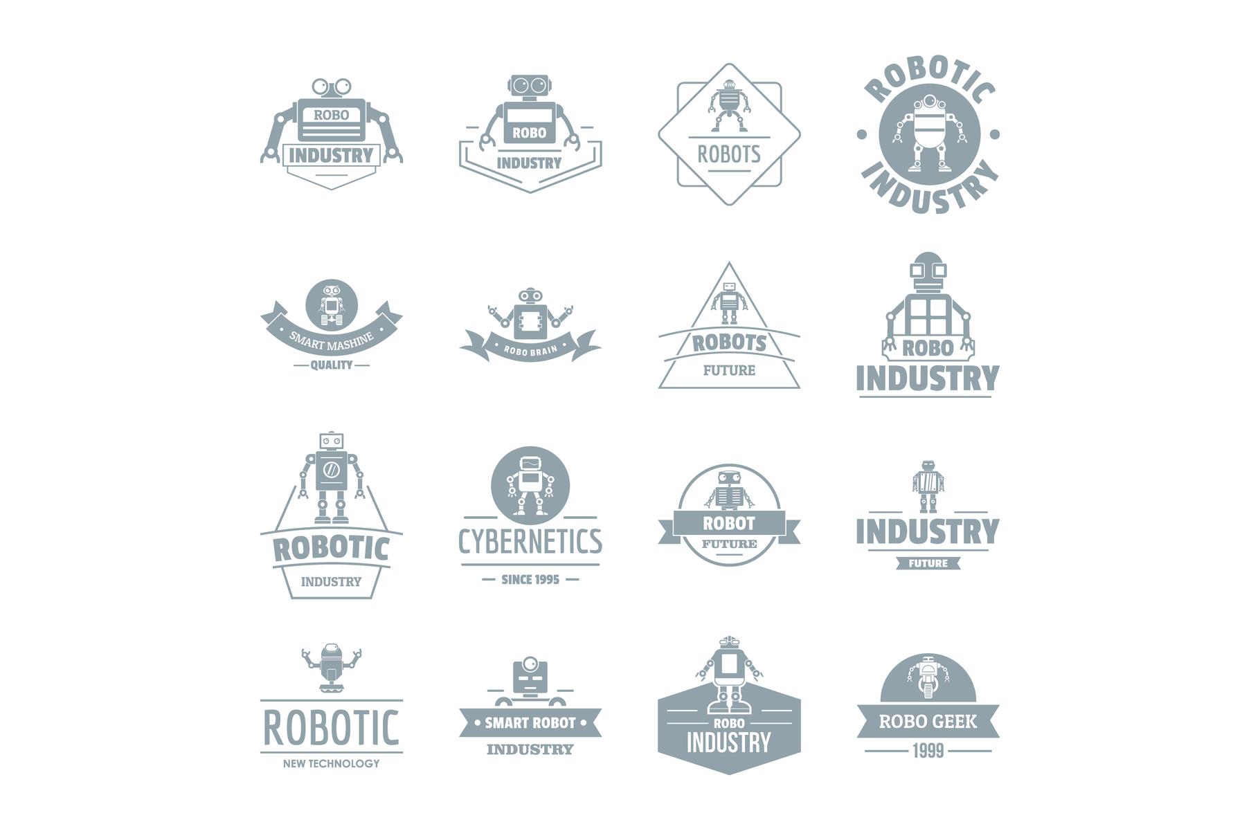 Robot logo icons set, simple style example image 1