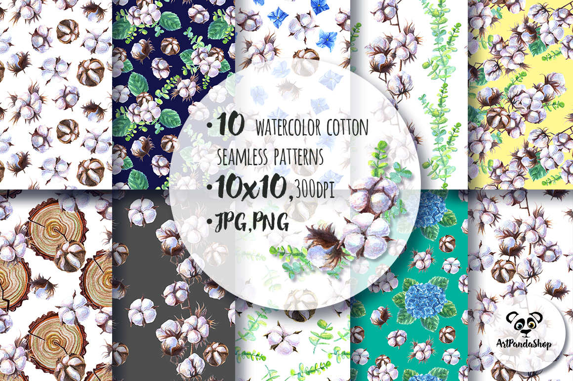 Seamless pattern Watercolor cotton and hydrangea example image 2
