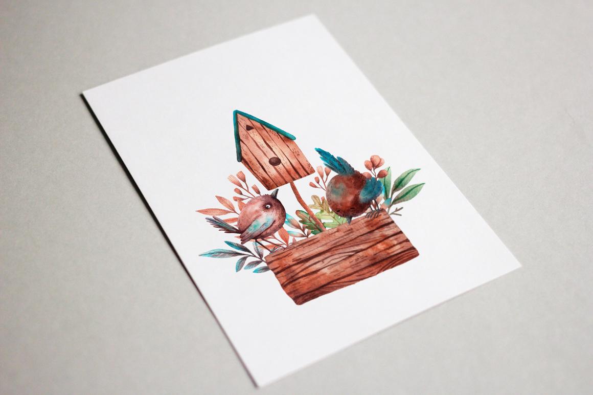 Tiny Birds - Watercolor Clip Art Set example image 8
