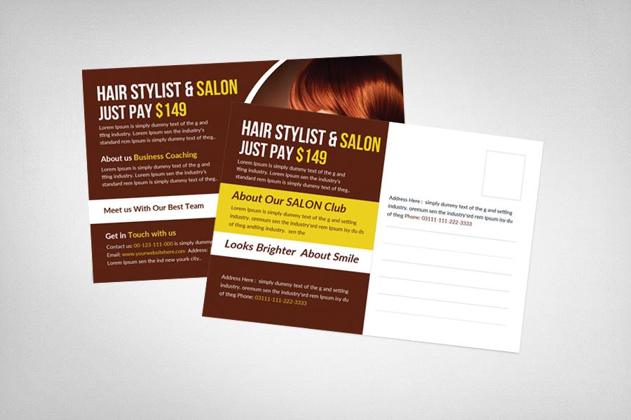 Hair Stylist & Salon Postcard Template example image 2