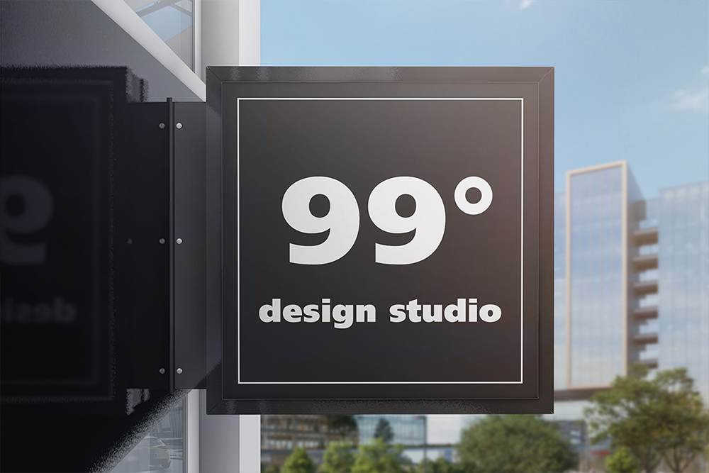 Building Advertising Square Sign Mockup example image 3