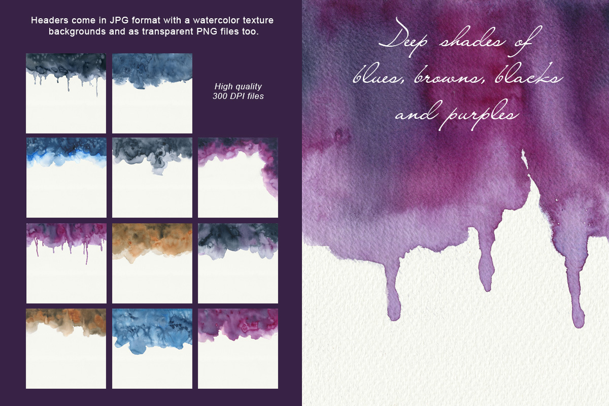 Dark Watercolor Backgrounds & Headers example image 5