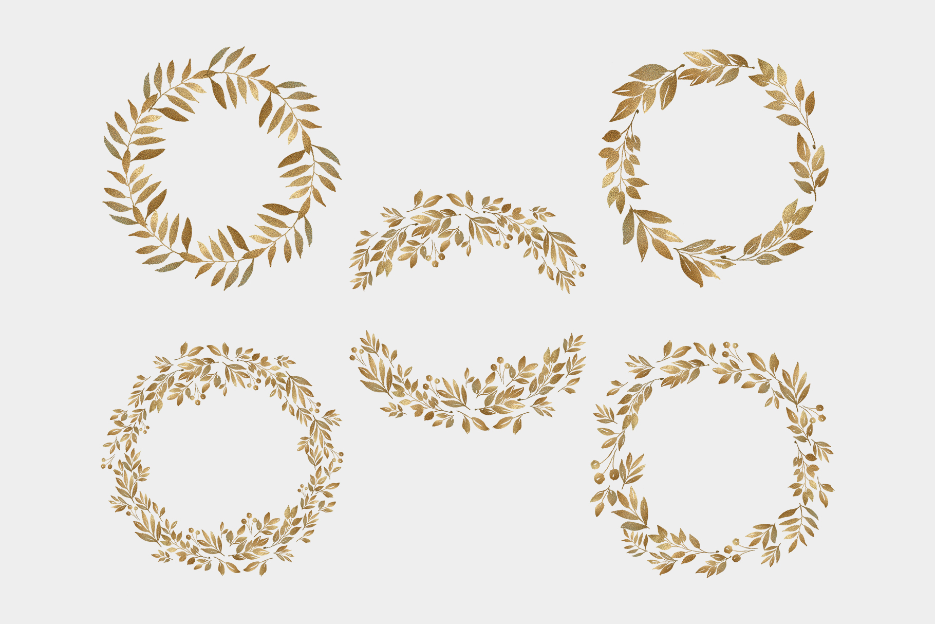 Gold leaves and wreaths, gold foil leaves clip art example image 4