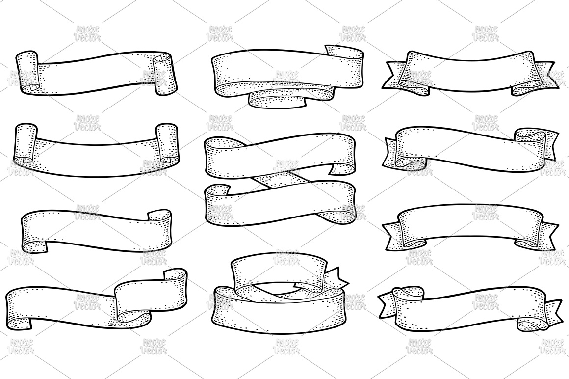 Set of ribbons isolated on white Vector vintage engraving example image 2
