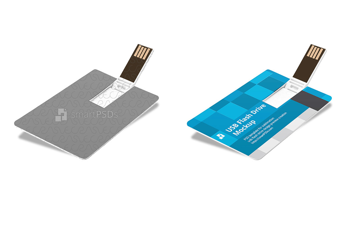 Plastic USB Flash Card Design Mockup example image 1