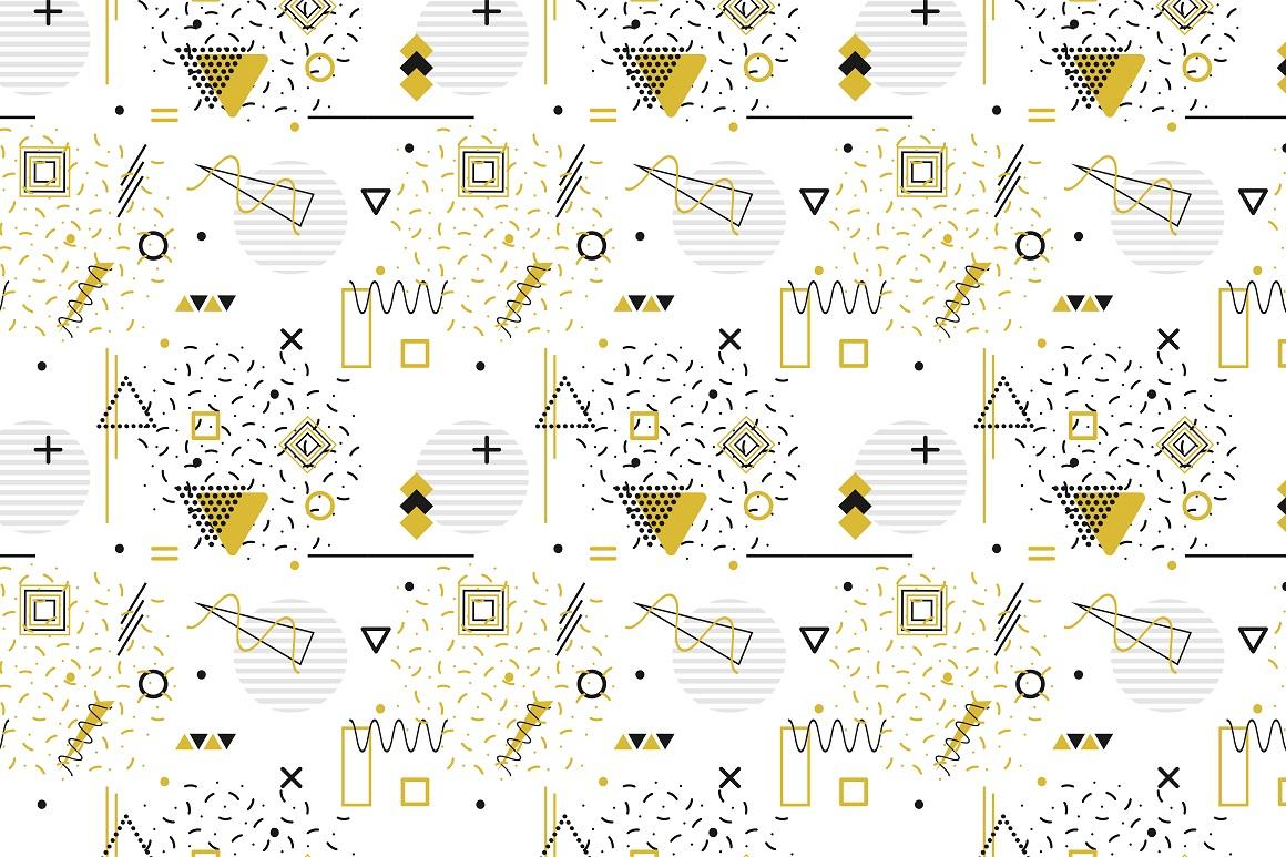 Memphis seamless geometric patterns example image 4
