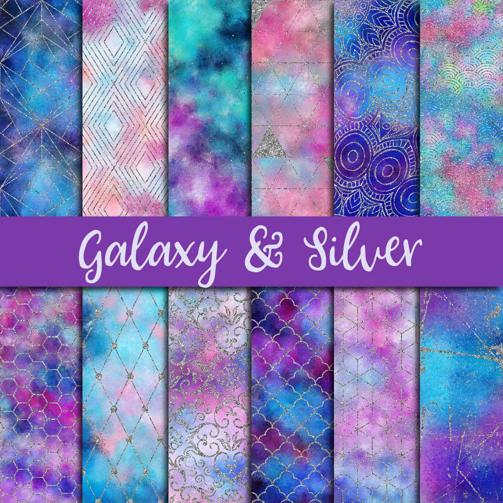 Galaxy & Silver Glitter Digital Paper example image 1