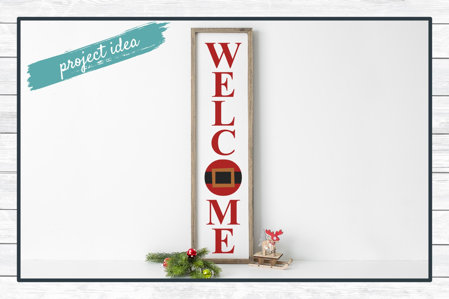 Welcome Holiday Porch Sign Design, SVG Cut File for Crafters example image 2